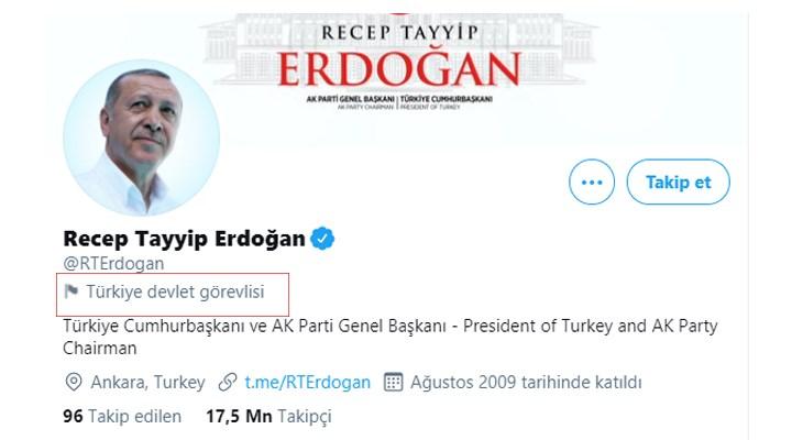 Twitter, Erdoğan'ın hesabını etiketledi